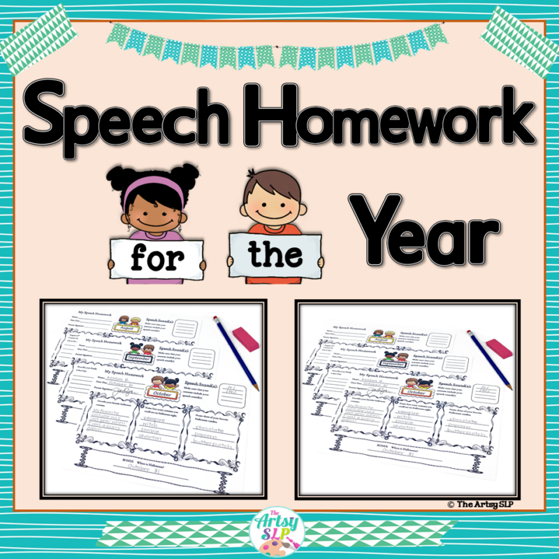 Speech Therapy Homework for the Year