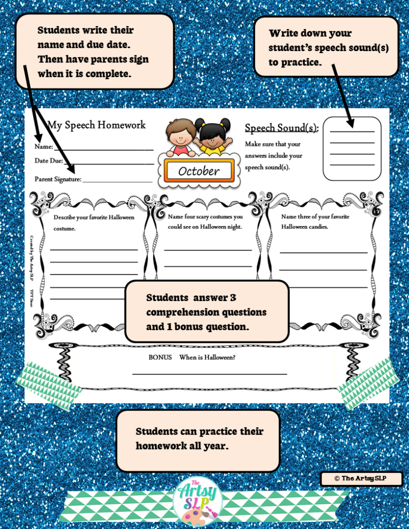Speech Therapy Homework for the Year Previews